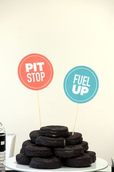 Spare Tire Chocolate Donut Cake. Perfect for boys and race car parties!