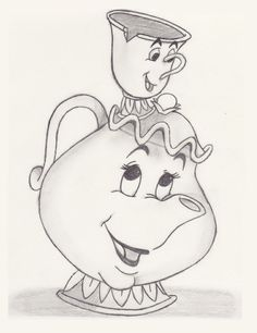Disney mrs potts and chip to draw | Chips Beauty, Potts Chips, Disney Chips Sketch, The Beast, Mrs. Potts ...