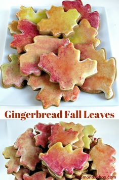"Gingerbread Fall Leaves- Chewy cut-out gingerbread cookies decorated using easy ""sponge painting"" to create all the colors of fall! Simple decorating directions and delicious recipe! 