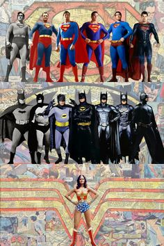 DC has three top tier superheroes. The trinity as they're often referred to. Batman, Superman and Wonder Woman. All of them have appeared in one form or another in live action (either movies or tv) and this image by hitokirivader represents the changes in costumes over the years.  It also, unfortunately, makes a rather sad statement about how DC has repeatedly failed with Wonder Woman.