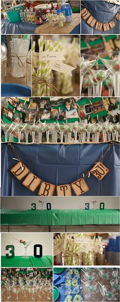 """Dirty Thirty Birthday Party I threw for my husband. Masculine """"Dirty Thirty"""" banner in burlap from etsy. Cake pops were made to look like olives & served in small martini glasses along with sugar cookies in the shape of 3 & 0.  Large martini glasses with foam """"olives"""" were also used for decor on the food table. DIY printable flags to go on the paper straws read """"Brett's Dirty Thirty"""" on one side & the other read """"Cheers to 30 Years"""". #30 #dirtythirty #mensbirthday #martini #cakepops"""