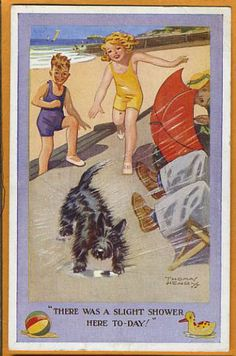 Scottish Terrier giving showers at the beach, vintage illustration Scotty dog Images Vintage, Vintage Dog, Vintage Postcards, Vintage Cards, Terrier Dogs, Westies, Dog Photos, Dog Art, Mans Best Friend