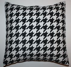 Throw Pillow Sham/Cover for 18x18 Insert Large Black/White Houndstooth ALABAMA #Handmade