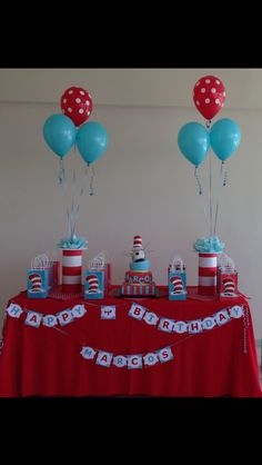 Photo Booth Backdrop for Dr Seuss-themed birthday party - Dr Seuss Party Ideas, Dr Seuss Birthday Party, Twin Birthday Parties, Twin First Birthday, Birthday Ideas, Fourth Birthday, Dr. Seuss, Cat In The Hat Party, Dr Seuss Baby Shower