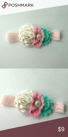 Shabby Chic Flower headband, handmade, 3-6 months Shabby chic lace flower headband Colors: ivory, pink, mint Blush pink 1 inch lace elastic Pearl rhinestone Size: 15 inches Age: 3-6 months  Please contact us if you have any questions. Measure baby head to make sure measurement is perfect!  Smoke and pet free studio.  Runway Closet Accessories Hair Accessories