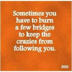 Sometimes you have to burn a few bridges to keep the crazies (lol - your boyfriend's ex sleezy girlfriend - YUK) from following you.