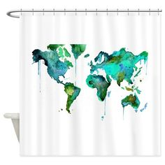 World Map Shower Curtain on CafePress.com