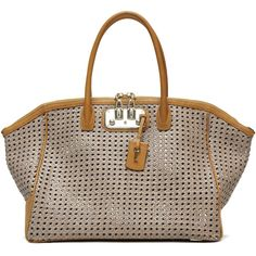 VBH Brera 40cm Tote ($3,700) ❤ liked on Polyvore featuring bags, handbags, tote bags, zip top tote, zip top tote bag, brown purse, brown tote e perforated handbag