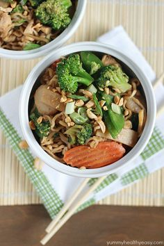 A new spin on ramen noodles - Chicken Thai Noodle Bowls! Ramen noodles and stir-fry veggies tossed in a quick & easy peanut sauce and topped with chopped peanuts and green onions. Asian Recipes, Healthy Recipes, Asian Foods, Fish Recipes, Delicious Recipes, Soup Recipes, Chicken Recipes, Dinner Recipes, Ramen Dishes