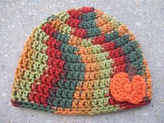Crochet Beanie Hat in Fall Colors with by AngieHallHaviland, $11.00