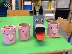 3 Little Pigs Activities, Activities For Kids, Toddler Crafts, Crafts For Kids, Pop Can Crafts, Wolf Craft, Preschool Painting, Toilet Roll Craft, Finger Puppet Patterns