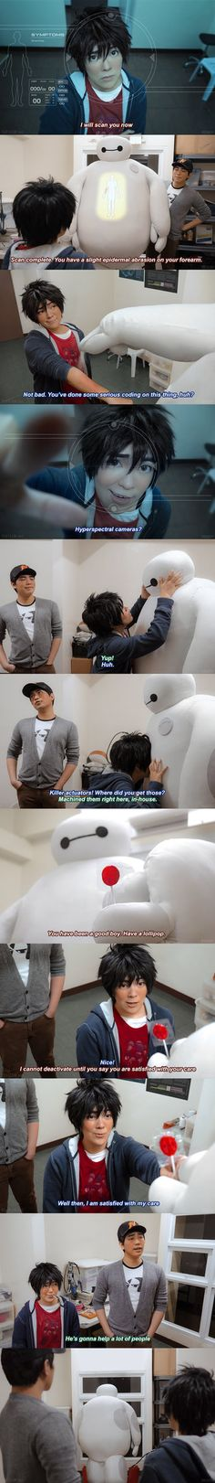 Part 2 of a photo sequence we did based on the scene where Hiro first meets Baymax! This made me think of the time when Baymax finally started working properly, and Tadashi looked at him proudly an...