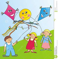 pictures of children flying kites | Child Flying Kite Clipart ...