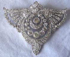 Art Deco Platinum Mine Cut Diamond Brooch Pendant | eBay