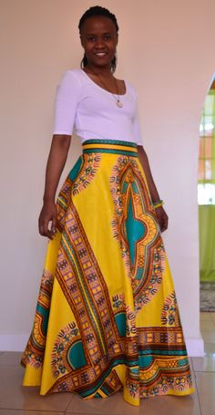 This elegant yellow dashiki skirt is made from 100% cotton African Dashiki fabric.  *Flared design *Invisible zipper at the back *Well lined   ♥ ♥ Proudly hand made in Kenya.   ✂⋯⋯ S I Z E C H A R T ⋯⋯✂  XXS: Waist- 24-25  XS: Waist- 26-27  S: Waist- 28-29  M: Waist- 30-31  L: Waist- 32-33  XL: Waist- 34-36  XXL: Waist- 37-39  3XL: Waist- 40-42   ♥ ♥ Measurements are welcome to ensure perfect fit.   CARE INSTRUCTIONS: Hand wash cold /machine wash, DO NOT BLEACH, Hang dry, Press with warm…