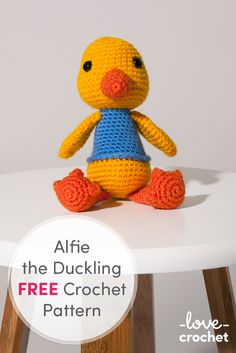 FREE crochet pattern for the adorable Alfie the Duckling. Download now at LoveCrochet.Com
