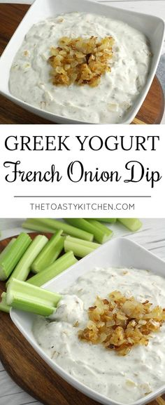 Greek Yogurt French Onion Dip - The Toasty Kitchen - Greek Yogurt French Onion Dip by The Toasty Kitchen Source by swavvv Healthy Dip Recipes, Healthy Dips, Appetizer Recipes, Vegetarian Recipes, Appetizers, Thm Recipes, Snack Recipes, Greek Yogurt Dips, Gastronomia