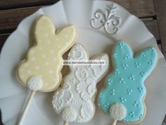 Yellow, White & Turquoise Easter Bunny Cotton Tail Cookie Pops