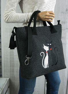 Grey FELT LAPTOP BAG  Women Felt Bag  Two Cats  by BPStudioDesign