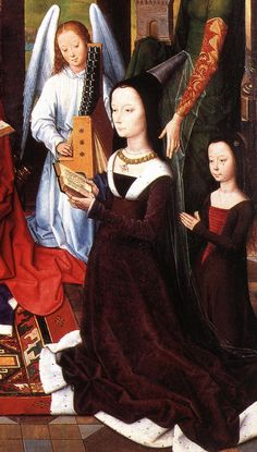 Anne Donne in the center panel of the Donne Triptych by Hans Memling, 1475