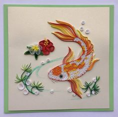 Your place to buy and sell all things handmade Koi Fishes Neli Quilling, Ideas Quilling, Paper Quilling Cards, Paper Quilling Flowers, Paper Quilling Tutorial, Paper Quilling Patterns, Quilled Paper Art, Quilling Paper Craft, Paper Crafts