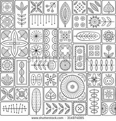 Scandinavian design tiles with floral abstractions. Patterns and ornaments with Scandinavian motifs within the rectangular frames. Linear style illustration. Monochrome seamless background - buy this stock vector on Shutterstock & find other images. Scandinavian Embroidery, Scandinavian Pattern, Scandinavian Folk Art, Doodle Patterns, Zentangle Patterns, Quilt Patterns, Zentangles, Art Patterns, Flower Pattern Design