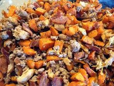 Sweet potatoes, Bacon, Ground Turkey, and Chicken Paleo Recipe.