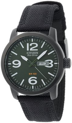 Citizen BM8475-00X Eco-Drive Military Black Plated Steel Canvas Strap Watch, $175