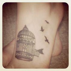 pretty birdcage tattoo by Wonderkell