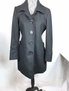0a94aea1234523 Tulle Anthropologie Women's Black Wool Viscose Lined Jacket Pea Coat Size  XL #Tulle #Peacoat