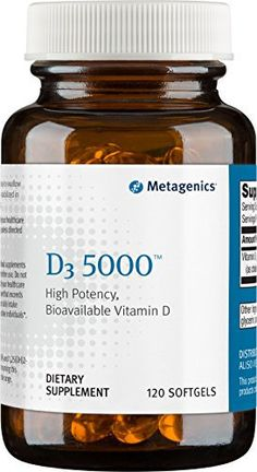 """D3 5000 features 5000 IU of vitamin D3""""the most bioavailable form of vitamin D.       Famous Words of Inspiration...""""It's better to be good than evil, but one achieves goodness at a terrific cost.""""   Stephen King — Click here for more... more details at http://supplements.occupationalhealthandsafetyprofessionals.com/vitamins/vitamin-d3/product-review-for-metagenics-d3-5000-120-softgels-packaging-may-vary/"""