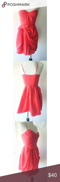 Red Party Dress Gorgeous and soft bright red dress with bow accent. Adjustable spaghetti straps. Dresses Prom