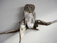 2819SM | Driftwood Owl Sculpture. Ebony eyes and Yellow Hear… | Flickr