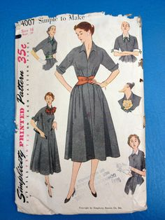 Vintage 1950's Simplicity 4007 Pattern // 1Piece by ElkHugsVintage, $15.00