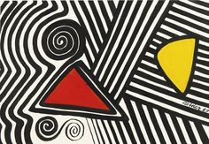 Alexander Calder 1898 - 1976 RED, YELLOW AND MAZE signed and dated 69 gouache and ink on paper 29 1/2 by 43 1/4 in. 74.9 by 109.9 cm.