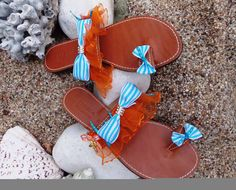 Seashore Bows leather sandals flip flops by eleles on Etsy, £41.00