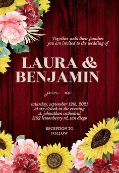Burgundy Sunflower - Wedding Invitation #invitations #printable #diy #template #wedding