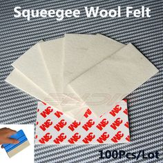 100Pcs 3M Wool Felt Squeegee Car Wrapping Vinyl Film Edge for Sign Vinyl / Vehicle Wrap & Tinting Application Tool 10x5CM 100A80