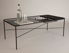 This coffee table by Northumbria University graduate George Riding features objects that nestle into the furniture's metal framework