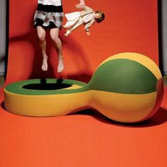 Trampoline with gym ball SNEAKER - Giovanni Levanti    Campeggi Trampoline with inflatable gym ball for interiors. The padding is in foamed polyurethane and polyester fibre and it is provided with a removable cover in a two-tone three-dimensional polyester.