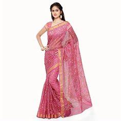 56bb6ff0e85f23 Rajnandini womens Ethnic Wear Kota Silk Bandhej saree With Zari Border  (Pink)