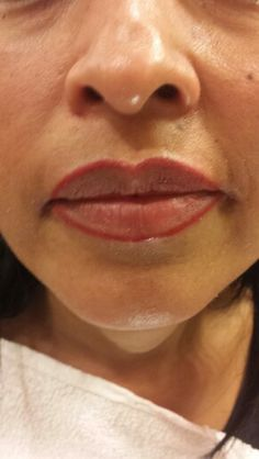 Lip liner permanent makeup.