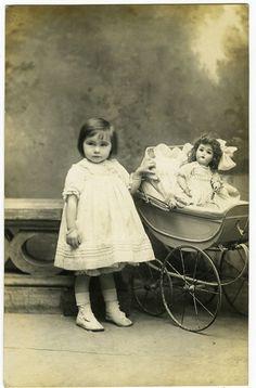 c 1907 Cute Little GIRL w/ DOLL in Carriage Pram unique private photo postcard