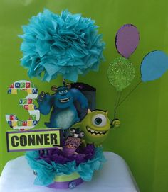 Monsters Inc Birthday Centerpiece Monsters Inc by BasketsFromAtoZ