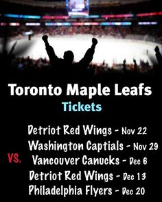 $179 and Up for Tickets to the Toronto Maple Leafs vs Detroit Red Wings on November 22 OR Washington Capitals on November 29 OR Vancouver Canucks on December 6 OR Detroit Red Wings on December 13 OR Philadelphia Flyers on December 20 Vancouver Canucks, Washington Capitals, Philadelphia Flyers, Best Deals Online, Toronto Maple Leafs, Detroit Red Wings, November, Sports, Sport
