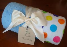 LARGE Polka Dot Gumballs and Sky Blue  Baby Boy blanket by BundleMeBaby, $38.00