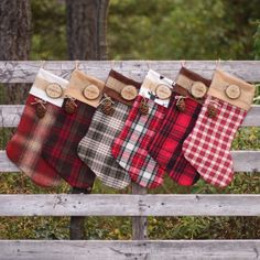 DIY flannel Christmas stockings from repurposed upcycle shirts Diy Christmas Stockings, Diy Christmas Name Tags, Baby Christmas Stocking, Country Christmas Crafts, Rustic Christmas Ornaments, Burlap Stockings, Country Christmas Decorations, Names On Stockings, Personalized Christmas Stockings