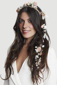 Ditch The Traditional Veil With These 9 Alternative Headpieces  #refinery29  http://www.refinery29.com/alternative-wedding-headpieces#slide-8  For boho brides looking to forgo the flower crown, this silk-flower hair garland is an inventive alternative....