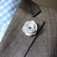 Leather flower lapel pin by jolly lapel