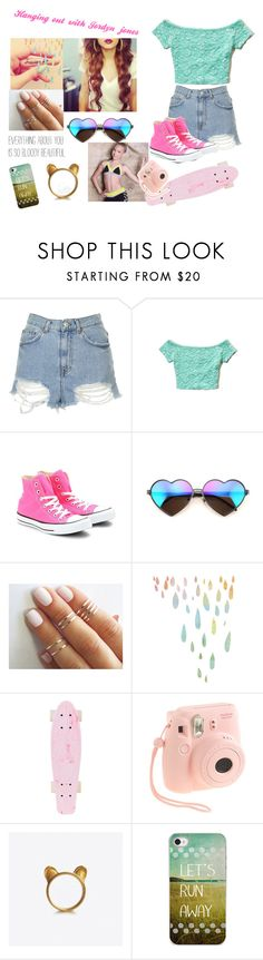 """""""Hanging out with Jordyn jones"""" by nina-holt ❤ liked on Polyvore featuring Topshop, Hollister Co., Converse, Wildfox, J.Crew, women's clothing, women's fashion, women, female and woman"""